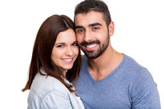 Couple posing over white background Royalty Free Stock Photos
