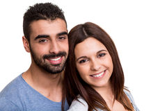 Couple posing over white background Royalty Free Stock Photo