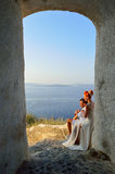 Couple posing on Santorini island royalty free stock photos