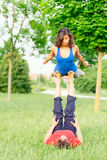 Couple practicing acroyoga Royalty Free Stock Photos