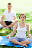 Couple practicing yoga in the park Royalty Free Stock Images