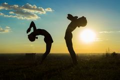 Couple practicing yoga in the park at sunset drop back Royalty Free Stock Image