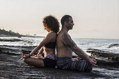 Couple practicing yoga Royalty Free Stock Photo