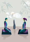 Couple Practicing Zen Meditation Stock Photography