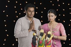 Couple praying on Diwali Royalty Free Stock Photography