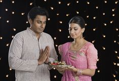 Couple praying on Diwali Royalty Free Stock Photo