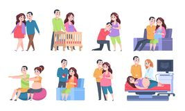 Couple pregnancy characters. Woman and newborn baby activities, young parents set of scenes. Vector pregnant woman and vector illustration