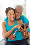 Couple pregnancy information Stock Photography