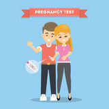 Couple with pregnancy test. Royalty Free Stock Photo