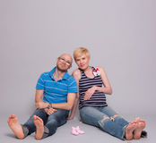 Couple pregnant mother and happy father Royalty Free Stock Photography