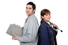 Couple prepared for tiling Royalty Free Stock Photo