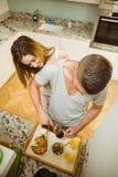 Couple preparing a breakfast tray Stock Photo