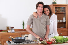 Couple preparing dinner Stock Photo