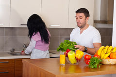 Couple preparing food Stock Photo