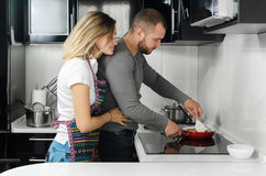 Couple preparing food Royalty Free Stock Photo