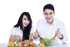 Couple preparing healthy food Royalty Free Stock Photo