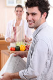 Couple preparing lunch Royalty Free Stock Photo