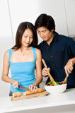 Couple Preparing Meal stock photography
