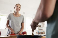 Couple Preparing Meal Together In Modern Kitchen Stock Images