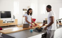 Couple Preparing Meal Together In Modern Kitchen Royalty Free Stock Photo