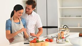 Couple preparing sauce for lunch Stock Images
