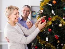 Couple preparing to celebrate in his home Christmas and New Year. Mature happy spanish couple preparing to celebrate in his home Christmas and New Year stock photo