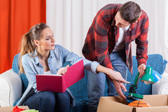 Couple preparing to moving house Stock Images