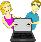 Computer Ad. Couple presents computer or supposedly technological adverts on the computer screen, which can be added subsequently Royalty Free Stock Images