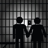 Couple in prision art illustration Royalty Free Stock Photos