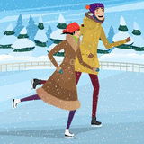 Couple on private ice rink Royalty Free Stock Image
