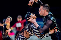 Couple of professional dancers performance at ballroom dance Royalty Free Stock Photos
