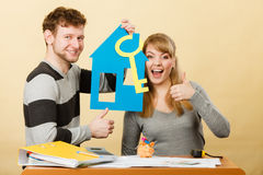 Couple project their first house. Royalty Free Stock Image