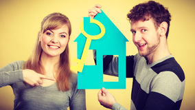 Couple project their first house. Stock Photos