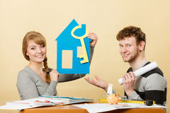 Couple project their first house. Stock Photo