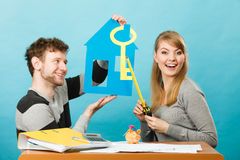 Couple project their first house. Royalty Free Stock Photography