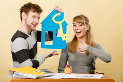 Couple project their first house. Royalty Free Stock Photos