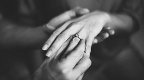 Couple Proposal Engagement Ring Concept Stock Images