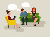 Couple at the psychologist cartoon vector Royalty Free Stock Images
