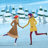 Couple on public ice rink Stock Photography