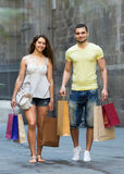 Couple with purchases Stock Images