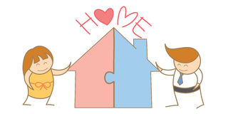 Couple putting jigsaw of house together. Cartoon character of couple putting jigsaw of house together Stock Image