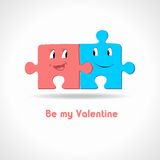 A couple of puzzle. Card with two puzzle in love Stock Photo