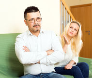 Couple quarelling over adultery. Married couple having quarrel over adultery Stock Image