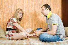 Couple after quarrel Royalty Free Stock Image