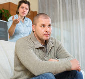 Couple quarrel at home Stock Photography