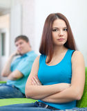 Couple after quarrel in home Royalty Free Stock Photography