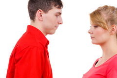 Couple after quarrel offended sad serious Royalty Free Stock Photos