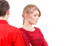 Couple after quarrel offended sad serious Royalty Free Stock Photography