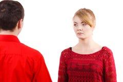 Couple after quarrel offended sad serious Stock Photos