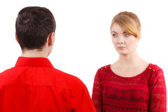 Couple after quarrel offended sad serious Royalty Free Stock Photo